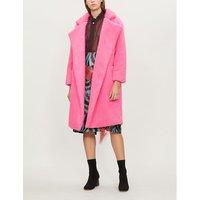 Wrap-over faux-fur teddy coat