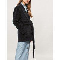 Waist-tie velvet jacket