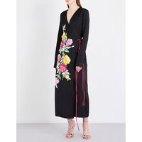 Attico Ladies Black Printed Floral-Print Satin Wrap Dress