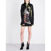 Attico Ladies Black Contrast Dragon-Embroidered Satin Wrap Kimono Dress