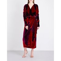 Attico Ladies Red Patchwork Luxurious Crushed-Velvet Wrap Midi Dress