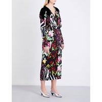 Attico Ladies Black Patchwork Luxurious Satin Wrap Mini Dress