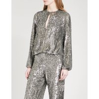 Liz puff-sleeve sequinned top