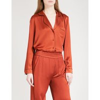 Anisa contrast-piped satin shirt