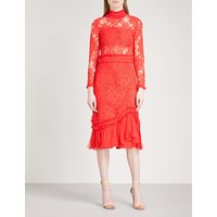 Anabella high-neck fit-and-flare lace dress