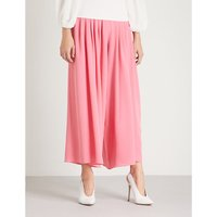 Carla high-rise wide crepe trousers