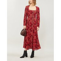 Annabella graphic-pattern crepe midi dress