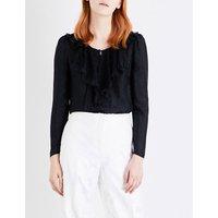 Philosophy Di Lorenzo Serafini Ladies Ruffled Lace-Bib Crepe Blouse, Size: 8