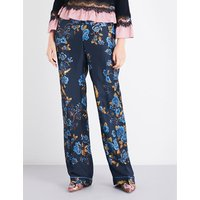 Alberta Ferretti Ladies Navy Floral Bohemian Floral-Print Relaxed-Fit Silk-Satin Trousers, Size: 8