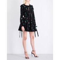 Cherry-print ruffled crepe mini dress