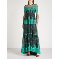 Lace-embroidered maxi dress