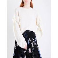 Ruffled-sleeve cashmere jumper