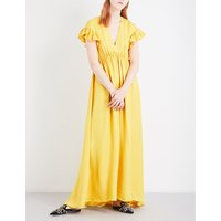 Philosophy Di Lorenzo Serafini Ruffled star-jacquard maxi dress, Women's, Size: 10, Yellow