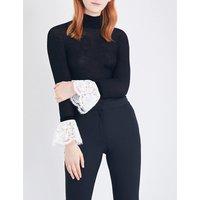 Philosophy Di Lorenzo Serafini Ladies Knitted Feminine Lace-Trim Turtleneck Top, Size: 6