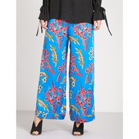 Floral-print wide high-rise silk-crepe palazzo trousers