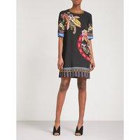Jungle-print crepe mini dress