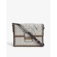 Etro Ladies Black and White Floral Rainbow Zebra Print Leather Shoulder Bag