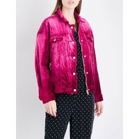 Free People Ladies Pink Textured Bohemian Oversized Velvet Trucker Jacket, Size: M/L