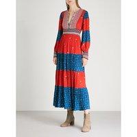 Patchwork woven maxi dress