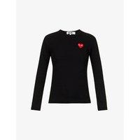 Heart-appliquéd cotton-jersey top