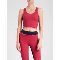 Mandy ruffled stretch-jersey sports bra