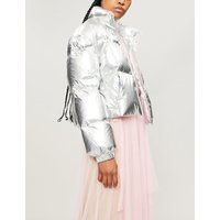 Metallic shell-down puffer jacket