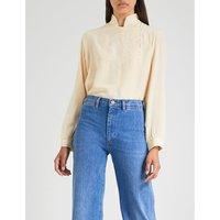 M.i.h Jeans x Bay Garnett Golborne Road Vintage mandarin collar embroidered silk-crepe shirt