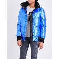 Calvin Klein Ladies Poseiddon Retro Ohara Metallic Puffer Jacket, Size: S