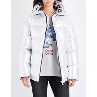 Sjyp Ladies Silver Exposed Zip Oversized Metallic Puffer Jacket, Size: S