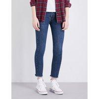 Re/Done Frayed-hem skinny high-rise jeans, Women's, Size: 26, Dark wash
