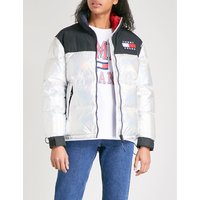 Holographic-effect shell puffer down jacket