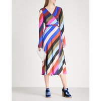 Striped silk-crepe wrap dress