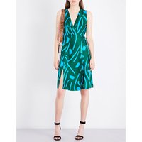 Abstract-pattern silk wrap dress