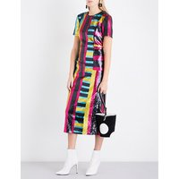 Striped sequinned midi dress