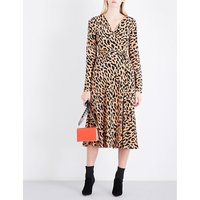 Leopard silk wrap dress