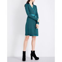 Square-patterned knitted wrap dress