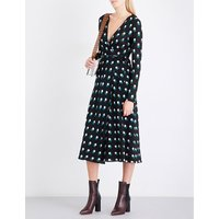 Printed silk-jersey and silk-crepe wrap dress