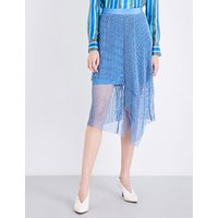 Asymmetric ruffled mesh midi skirt
