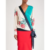 V-neck silk and satin wrap blouse