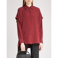 Flared-sleeve silk shirt