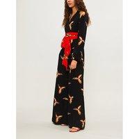 Parrot-print silk-crepe jumpsuit