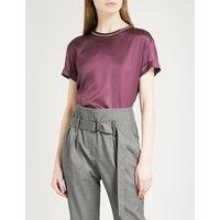 Bead-embellished stretch-silk top
