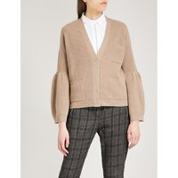 Flared-sleeve cashmere cardigan