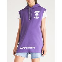 Branded sleeveless cotton-jersey hoody