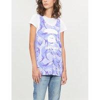 Camo-pattern sleeveless cotton-jersey top