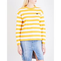 Patch-embroidered striped cotton-jersey top