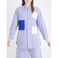 Chocoolate Striped oversized cotton shirt, Women's, Size: S, Blue