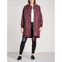 Embroidered-chest satin bomber jacket