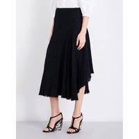 Asymmetric tweed midi skirt