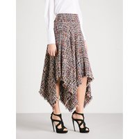 Handkerchief-hem high-rise tweed skirt